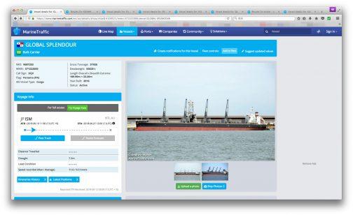 調べてみると GLOBAL SPLENDOUR 船種は貨物 2016年製(新しい!) 全長189.99m 全幅32.26m 積載量55828t