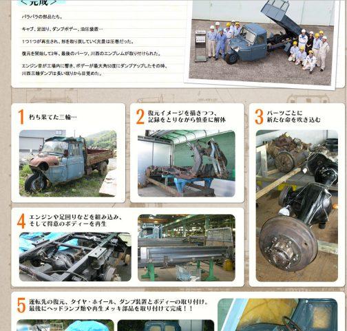 新明和工業株式会社はダンプを3輪のころから手がけているそうです。その三輪ダンプを創立60周年記念事業でレストアしたという記事が、truck-next.comというサイトに載っていました。