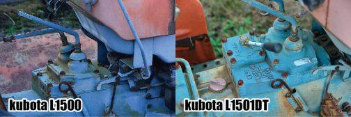 両者の比較です。クリープ分L1501の変速レバーのベースが、赤いオイルキャップのほうへ広がっているのがわかりますね!