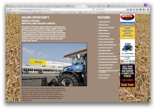 それからもう一つ、classictractormagazineという興味深いサイトを見つけました。今度はゴールドジュビリーというバジルドン工場50周年記念モデルのお話です。もちろん、前者の25周年シルバージュビリーの事も書いてあります。