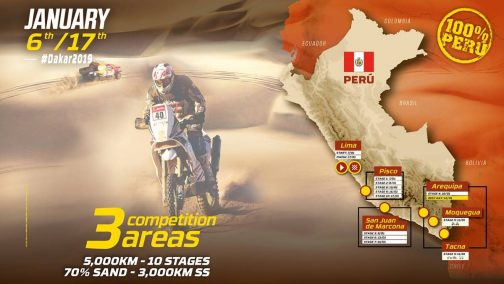 今年はクロスカントリーではなく、ペルー国内のみ。リマを1/6に出て、1/17にリマに戻るルート。 10ステージ5000キロ、70パーセントのサンドシチュエーションで3000キロのSSって・・・ハードです。 ピスコ、サン・ファン・デ・マルコマの3つのエリアで競われると書いてありますね。