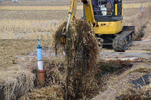 今日は久々に活動のお話です。多面的機能支払の長寿命化で修繕する水路が、雑草のアシカキと泥で2/3埋まっているので、泥上げと除草をやることになり、その作業が始まったので見てきました。