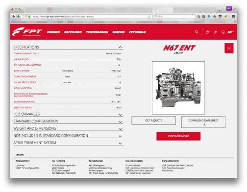 FPTのサイトでこのOptum 300 CVXのエンジンに合うものを調べてみると、若干馬力は違いますがN67というエンジンが見つかりました。載っているエンジンはこれじゃないかなあ・・・