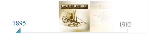 BERTHOUDは1895年創業でフランスにおける植物防除用スプレーヤーの先駆者だそうです。画像にあるような、ぶどう畑で使われる背負い式のスプレーヤーから始まったわけです。それから120年・・・先日のジョンディアが27馬力のトラクターが100年で620馬力の超巨大トラクターになってしまったように、このBERTHOUDもせいぜい20Lの背負い式が3200Lのスプレーヤーになってしまったのですね。