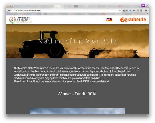 ドイツの農業雑誌の人達が選んだ賞のようです。トラクターに限らず、様々な農業機械のカテゴリーから選ぶ賞のようですが代り映えがしないと言うか、見慣れた大メーカーのものが並んでいます。変わったものを選ぼうにも、統廃合が進んでメーカー自体も少なくなってしまっていますからしかたありません。
