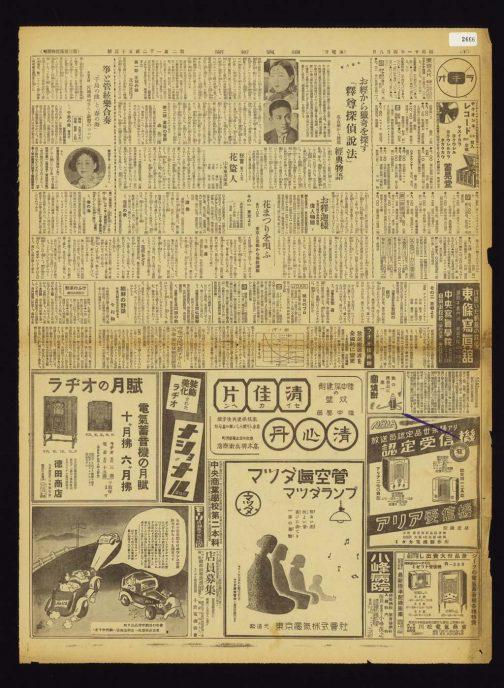 2666 読売新聞 第 21253 号、0 面、昭和 11 年 4 月 8 日発行 東京、読売新聞社 早速見つけました!昭和11年です。昭和13年の壁を薮しました。ラヂオの月賦、マツダ真空管、アリア受信機、電化製品はほぼ全部左横書きです。薬もそうですが、新しい製品、最新の製品ということを表現したい場合、左横書きを採用したのではないでしょうか? おもしろいのは右下の川松電機商会です。社名やミゼット受信機は左横書きなのに、景品付き大売り出しは右横書きになっています。