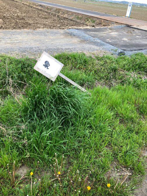 水戸市大場町島地区からほど近い大洗の田んぼでこんな看板を見つけました。