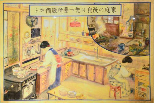 『家庭の改良はまず台所から』 土間の竃で煮炊きする生活をオーブンやシンクを使った欧米風なものに変えようという提案です。お!換気扇まであるみたいですね。 この生活改善運動とは直接関係はなさそうですが、この時代は女性の職種も増えて社会進出が進んだそうです。 しかし、この絵を見ると三枚の絵を通して奥さまは和服ですね。(子供が洋装なのにもかかわらずです)生活改善は男性のためで、女性自身は旧態のほうが好まれていた様子が見てとれます。