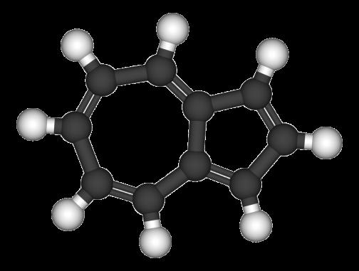 一方アズレンは同じく黒い炭素が10個。白い水素が8個ですが、くっつき方が違います。7角形と5角形が1辺を共有した形。へー。(画像はWikipediaより) もう、「へー」というしかないです。