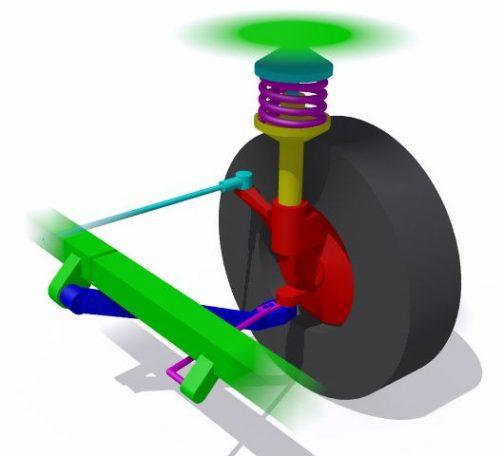 ボックスカートのつくりかたその2は「ナックルを作ろう」 ナックルとはこの画像(画像はWikipediaより)でいう赤い部分。車軸を支えるのと操舵の軸になるゲンコツに例えた部分です。