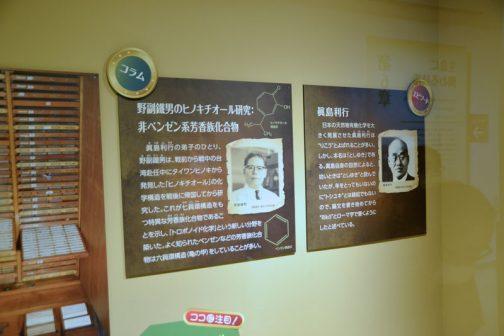 """「ウルシオール」の眞島利行先生のどうでもいいエピソードが右のパネル 眞島利行  日本の天然物有機化学を大きく発展させた眞島利行は""""りこう""""とよばれることが多い。しかし、本名は「としゆき」である。眞島自身の回想によると、幼い時は""""としゆき""""と読んでいたが、年をとってもいないのに""""トシユキ""""とは縁起でもないので、論文を書き始めてから""""Rikō""""とローマ字で書くようにしたと述べている。 その左隣はコラム 野副鐵男のヒノキチオール研究:非ベンゼン系芳香族化合物 眞島利行の弟子のひとり、野副鐵男は、戦前から戦中の台湾赴任中にタイワンヒノキから発見した「ヒノキチオール」の化学構造を戦後に帰国してから研究した。これが七員環構造をもつ特異な芳香族化合物であることを示し、「トロポノイド化学」という新しい分野を築いた。よく知られたベンゼンなどの芳香族化合物は六員環構造(亀の甲)をしている事が多い。 とあります。習ったのかもしれないですけど、すっかり忘れてしまっている化学の構造・・・全部亀の甲だと思っていたら七員環という構造があってビックリ。忘れっぽいということは何度でも驚けてそれはそれで悪くないです。 そんなことより七員環でビックリしていたら、三、四、五、六、七、八、九員環まであるそうです。世の中単純じゃないです。"""