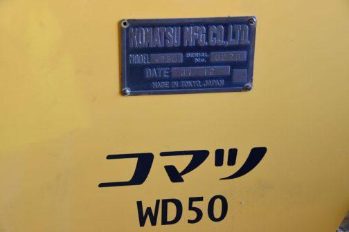 今回のWD50に戻ります。銘板にはDATE 37 12 つまり1962(昭和37)年12月製造とわかります。