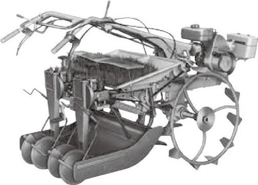 農業近代化の歩みを世界へ 「農機事業」というヤンマーのpdfでは、1967 年 5 月にいち早くひも苗式の田植機(動力苗まき機)TP21 を発売したにもかかわらず、市場をマット苗式に席巻された苦い記憶として記されていました。写真はそのYP21(ひも苗式)です。