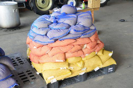 この間の選別で袋詰めにされた種籾が積み上げられています。