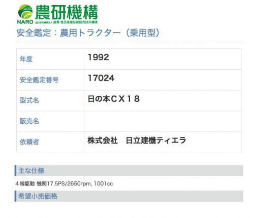 農研機構の登録では1992年・・・ということで1992〜1993年の生まれということになります。日の本NX46がクボタGL46だとすれば、このCX18も当時のクボタトラクターのはずです。当時D1005採用で17.5馬力のクボタトラクターを探してみると・・・