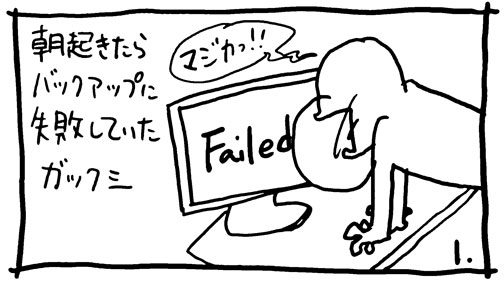 朝起きたらショックな事が・・・サイトのバックアップに失敗していて一晩の仕事がパーに・・・