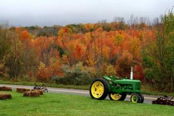 秋の紅葉とジョンディアトラクターの写真