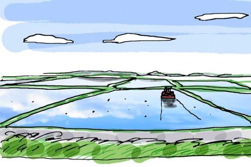 田鏡(水の張った田んぼ)に青空が映る・・・最高の季節です