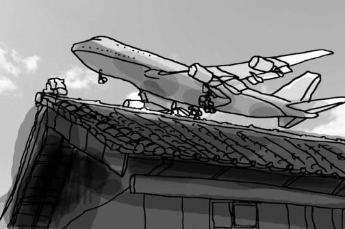 飛行場の近くに住んでいる錯覚に落ちいっちゃいます。裏の田んぼが飛行場、ジャンボジェットか輸送機の離発着が頻繁に行われています。(イメージ)