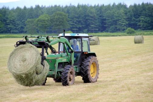 大きな大きな牧草の玉ですからこれを掴んでいたら前が全然見えません。だからきっとバック作業がメインなんでしょう。