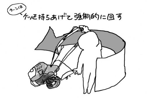 転回は手元のレバーを放してロータリを止め、強制的に方向を変えます。まあ、考えてみればこうやるしかないですね。