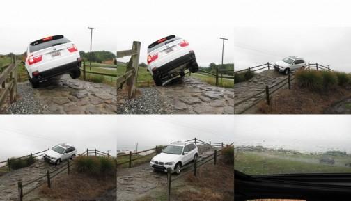 テストコースでの教習の様子らしい・・・実際にこんな道があったらチビリますね・・・後輪浮いてるし。左ハンドルだろうから運転者は怖いだろうなあ・・・