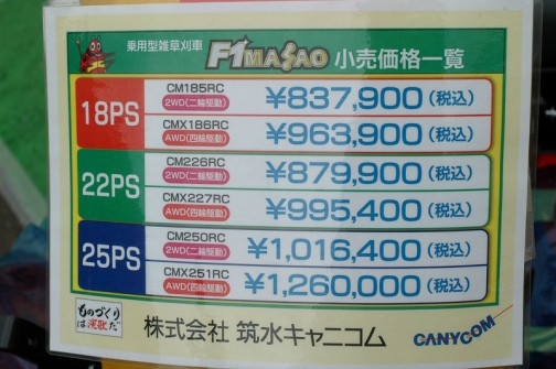 F1まさおの値段表です。筑水キャニコム 乗用型雑草刈車 F1MASAO F1まさお 価格表になってます。 ●18馬力 CM185RC(2WD)¥837,900 CMX186RC(4WD)¥963,900 ●22馬力 CM226RC(2WD)¥879,900 CMX227RC(4WD)¥995,400 ●25馬力 CM250RC(2WD)¥1,016,400 CMX251RC(4WD)¥1,260,000