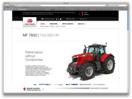 マッセイファーガソンMF7600のWEBサイト