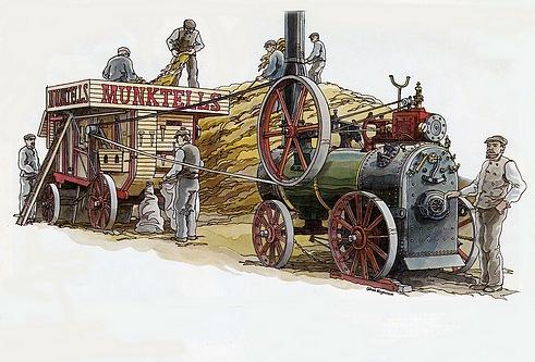 これは農業機械みたいです。蒸気で動く動力ですね・・・後ろに繋がれているのは脱穀機なんでしょうか?
