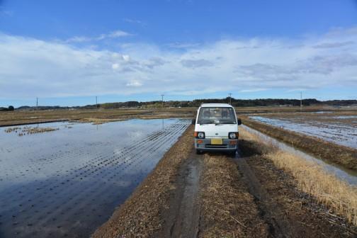 大雨が降るたんびに田んぼは水浸しです。
