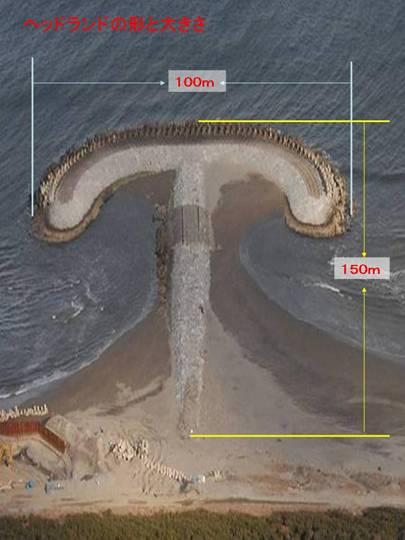 ヘッドランドの大きさは沖へ突き出す長さ150m。キノコの笠の大きさ100m。これが33基とは・・・ピラミッド並みですね。海上保安庁のWEBページより(http://www.kaiho.mlit.go.jp/03kanku/ibaraki/04shiryou/rigannryu/headland_katachi.htm)