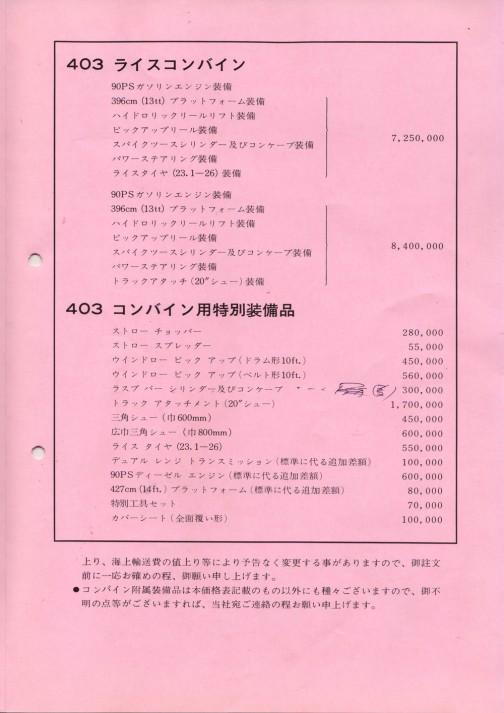 インターナショナルライスコンバイン403価格表
