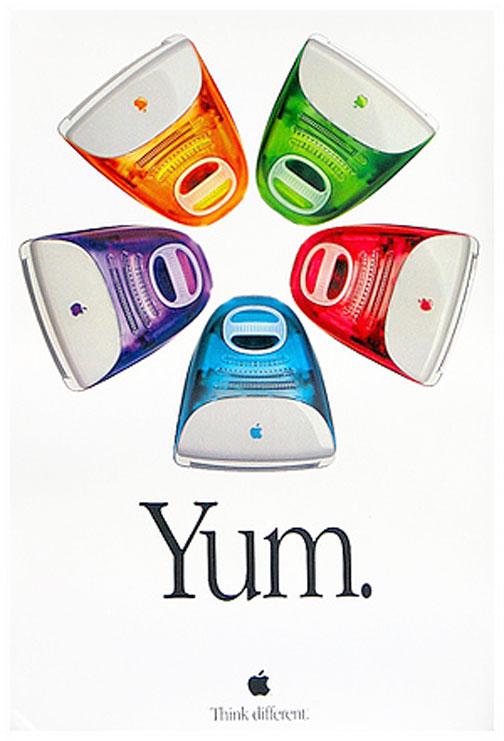 imac2代目 僕のうちにこのポスター貼ってあります。インテリアに合わせて、ライフスタイルに合わせてっていうのでしょうが、実際は並んでいるから『わぁ〜〜〜』って思うんですよね?自分のうちに置く一色だけ選ぶと、それはそれで物足りない感というかそんな気持がするものです。お金持ちになって全色買うってのが正しいやり方かもしれません。比較的値段の安い文房具にカラバリが多いのも全部買うことができるし、「とにかく全色買え!」というメーカーの戦略なのかもしれません。