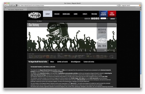 現代風でビジネスライクな作りの中に、イラストや古い写真が混じる不思議なサイト構成。(http://www.magnetimarelli.com/)今も存続している会社でした。