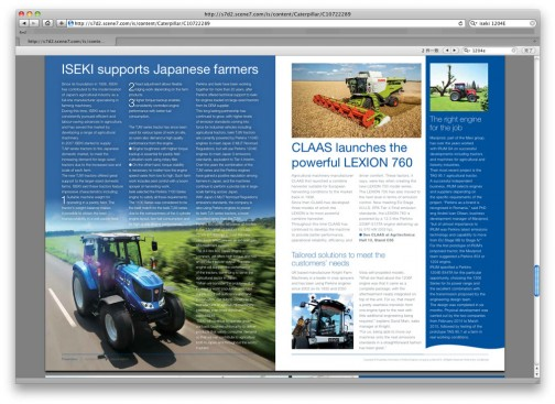 ここに載ってます。パーキンスエンジンは世界中いろいろなメーカーの農業機械に搭載されて農家の皆さんを支えています・・・的なプロモーション冊子です。