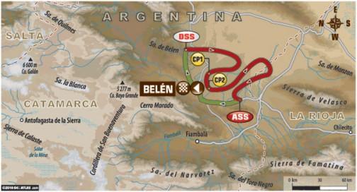 第9ステージはスペシャルが285キロ、移動区間が111〜151キロのループです。ループだからとか距離が短いからラクとは限りません。どうもほとんどがオフゲレンデの、土漠のような場所のようです。