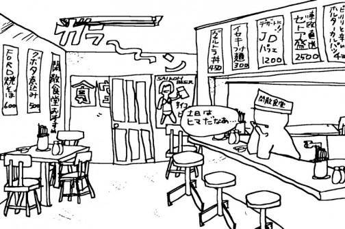 閑散食堂・・・土日はそもそも見にくる人が少ないし、雪も降って今日は開店休業。ビールでも飲んじゃおうかな・・・と、冷蔵庫を開けたら1本も入っていません・・・ショォォォォックぅ!!!