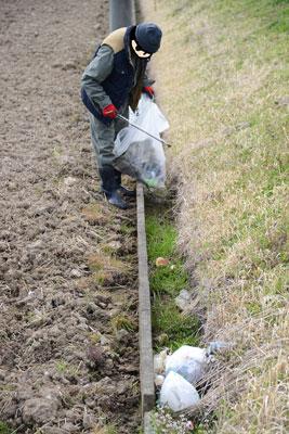 こういう道路からちょっと低くなっているところはゴミが捨てられやすいです。あっという間に袋はいっぱい。