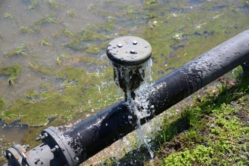 田んぼの「アレ」もとい、空気弁。コイツです。水がダダ漏れ。