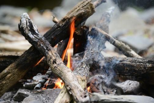 山はまだ寒く、焚火が楽しいです。熾きで料理もできるし、火を扱うのは想像力がいる仕事。