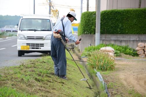 ③こちらは2手にわかれたもう一方のチーム。ヒガンバナの植込み部分を草刈りしています。
