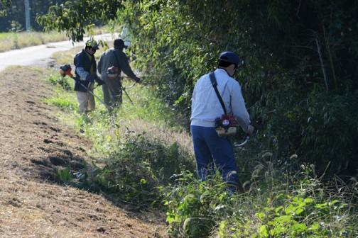 もう一方の部隊を見に行きます。こちらもスライドモアが届かなかった水路法面の草を刈っています。