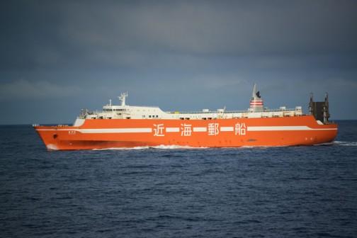 フェリーの上から撮った写真が見つかったので・・・これは帰りのフェリーで撮った写真。9/15日の朝7:35・・・近海郵船の「まりも」という船。