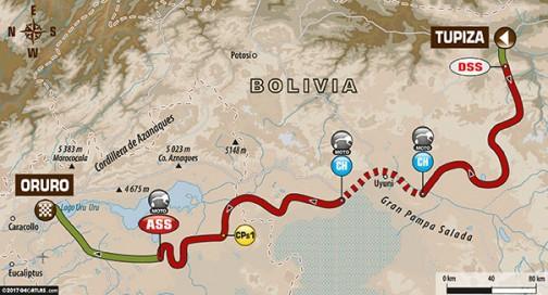 ステージ5はボイリビアのトゥピザ→オルロ。447kmのスペシャルを含む692kmです。