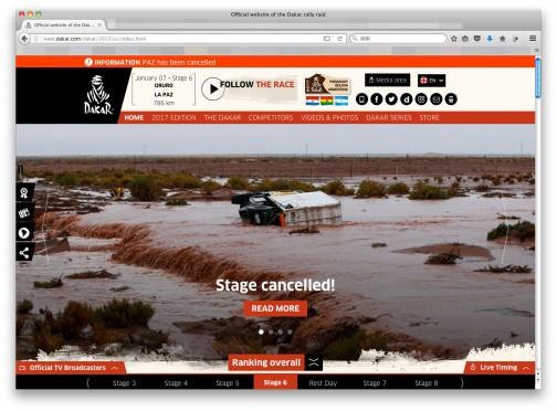今日もdakarをチェックしようと、WEBページを開いたらいちばん先に目に飛び込んできた画像。・・・雨かよ、キャンセルかよ・・・毎年ボリビアは雨なんじゃないだろうか。この時期は雨期なのかな。