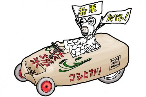 今回、レースに出場するカートのモチーフは米袋・・・といってもワラで編んだ米俵でもないし、スーパーで売ってる10kgとかのビニールのやつでもない、紙でできた30kg入りの米袋。もしかしたら一般の人は見たことがなかったりして・・・