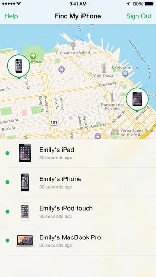 こんな風にGPSを使って自分のiPhoneやiPad、Macがどこにあるか地図上で知らせてくれるアプリなんです。