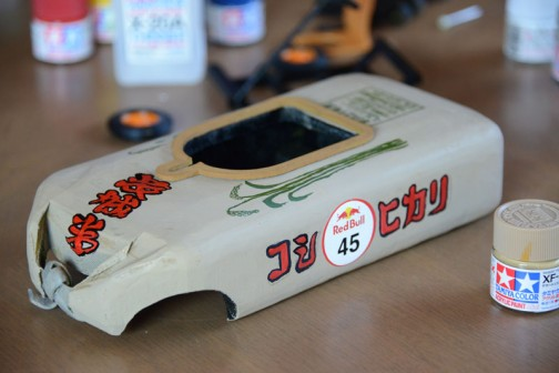 レッドブルボックスカートレースで走った「お米たべてー!」号の1/10模型を作ってみたというお話。
