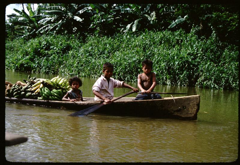 何回か書いていると思いますが、昔行った道路も電気もない地域のお話。交通手段はこのカヌー。こちらで自転車に乗るくらいの歳になったらこのようにカヌーを漕ぎます。これはお使いにいっているのでしょうかねえ・・・