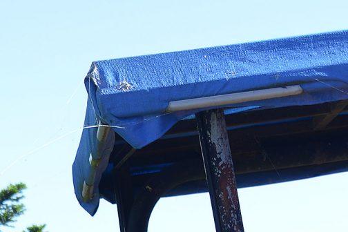 こんな部材が売っているのでしょうか?塩ビパイプを半割にしたようなものできちんとブルーシートを固定しています。もしかしてビニールハウス用の部材??いろいろなアイディアがありますよねぇ・・・